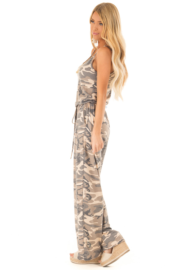 Desert Sand Camo Jumpsuit with Pockets and Front Tie side full body