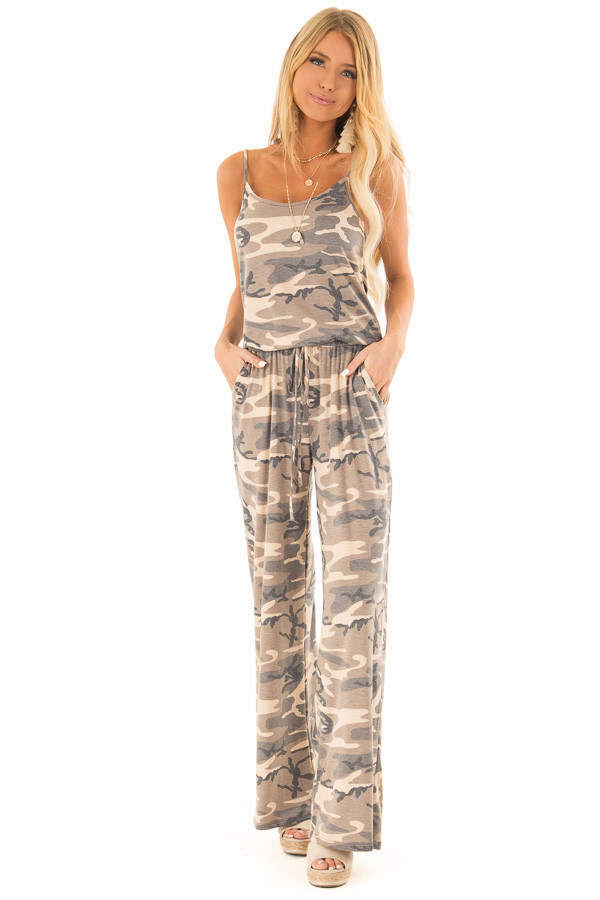 Desert Sand Camo Jumpsuit with Pockets and Front Tie front full body