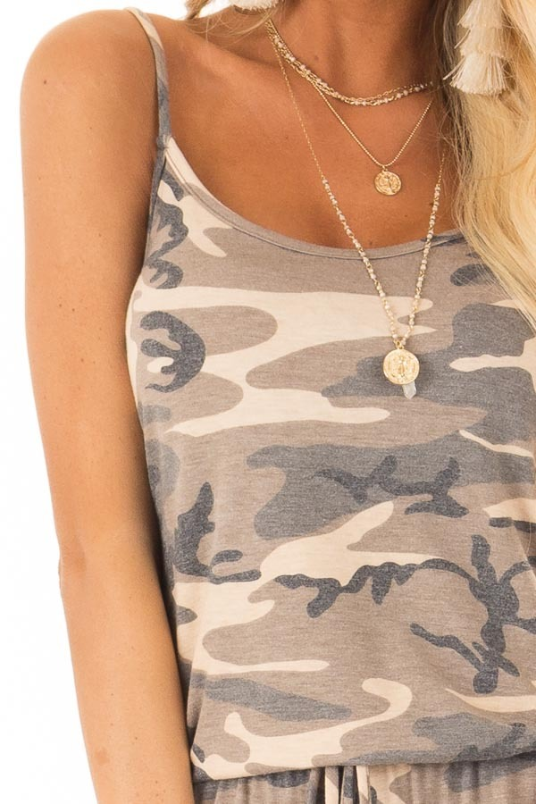 Desert Sand Camo Jumpsuit with Pockets and Front Tie detail