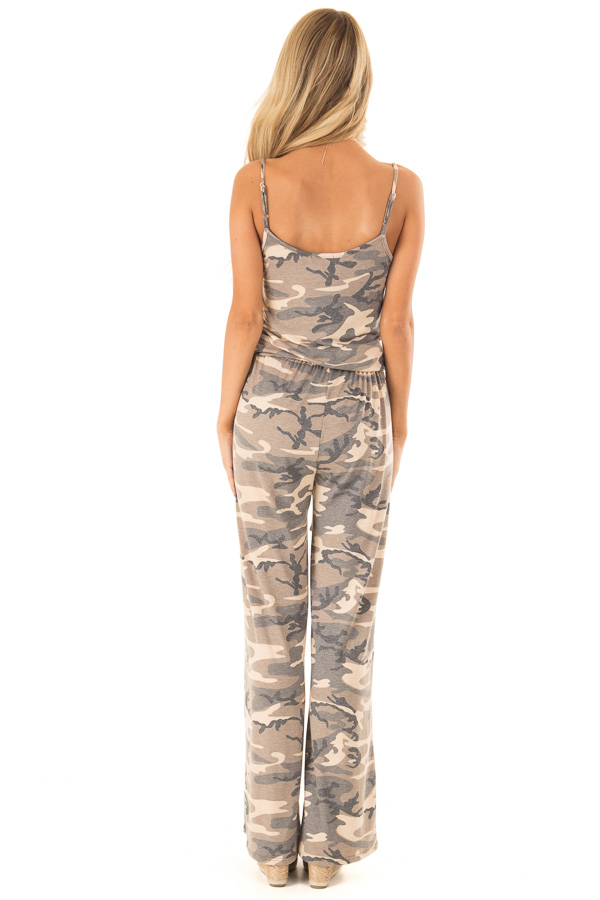Desert Sand Camo Jumpsuit with Pockets and Front Tie back full body