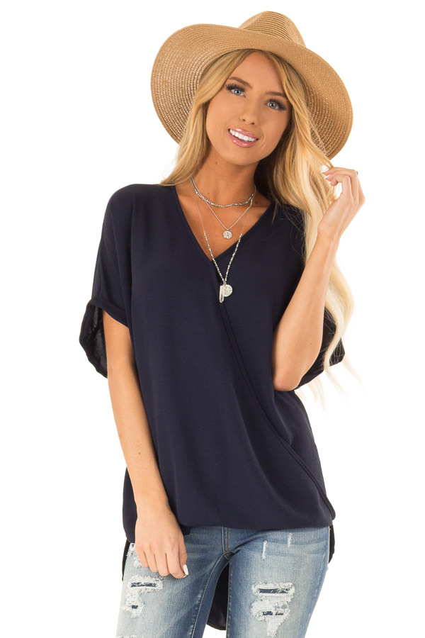 Deep Navy Surplice Bubble Hem Top with Short Dolman Sleeves front close up