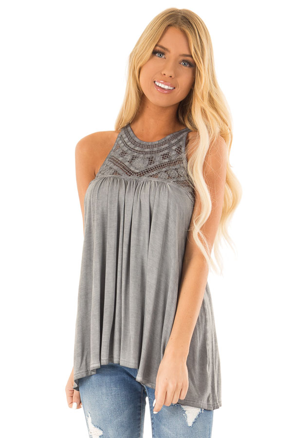 69f186043f688 Stone Grey Sleeveless Halter Tank Top with Crochet Details front close up