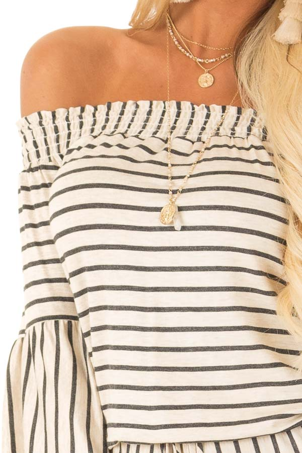 Oatmeal and Charcoal Striped Off Shoulder Romper detail