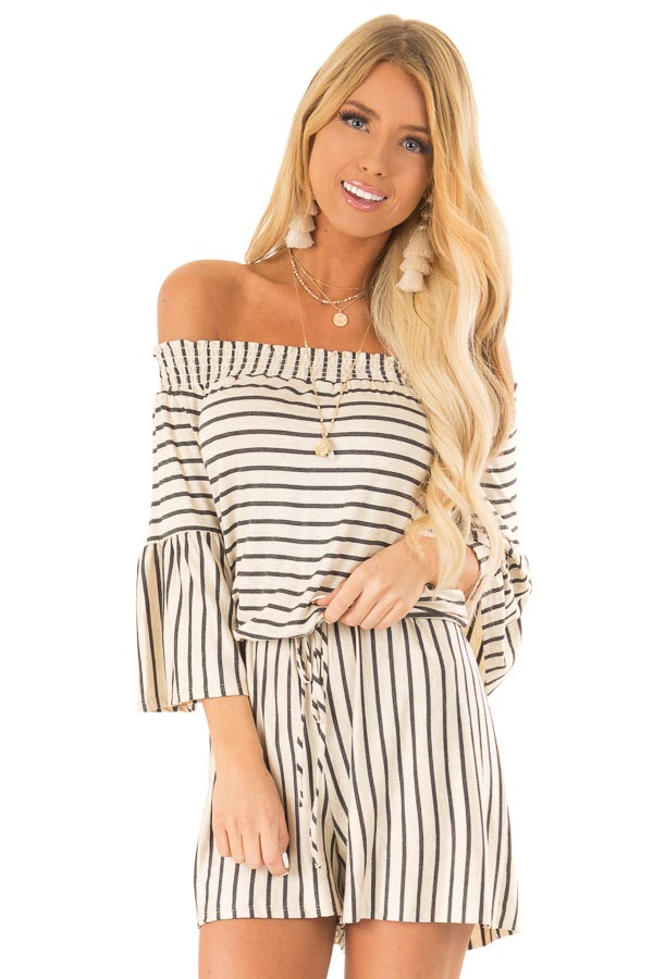 Oatmeal and Charcoal Striped Off Shoulder Romper front close up