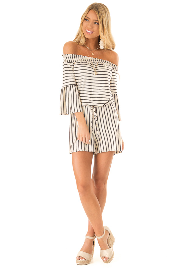 Oatmeal and Charcoal Striped Off Shoulder Romper front full body