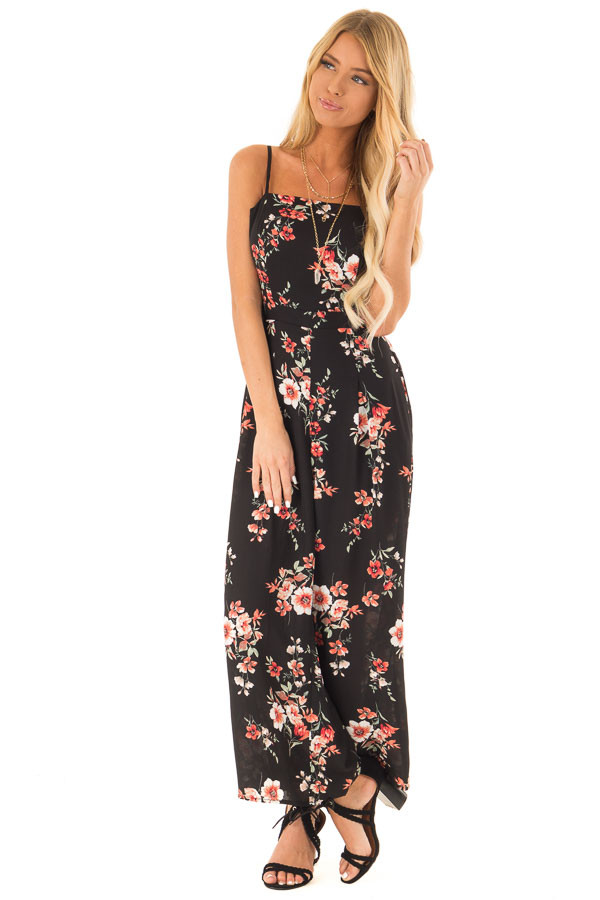 Ebony Black Floral Spaghetti Strap Jumpsuit with Pockets front full body
