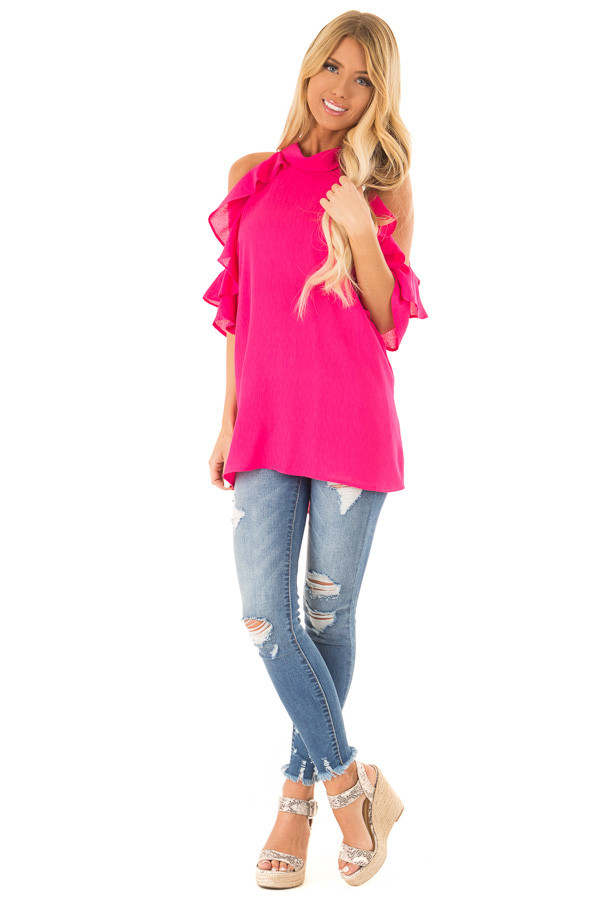 Hot Pink Cold Shoulder Top with Ruffle Sleeve Details front full body