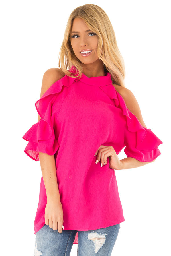 Hot Pink Cold Shoulder Top with Ruffle Sleeve Details front close up