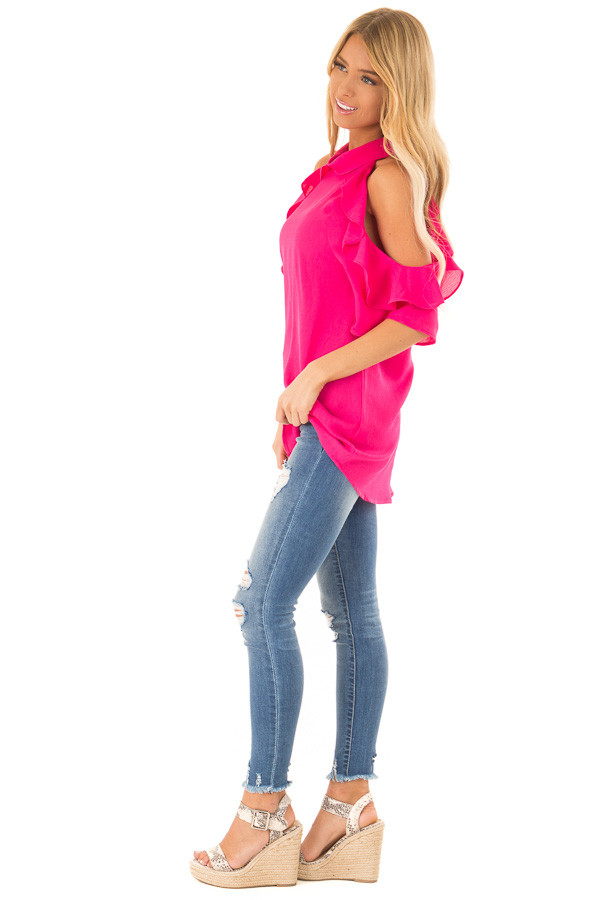 Hot Pink Cold Shoulder Top with Ruffle Sleeve Details side full body