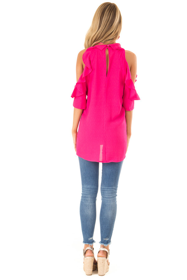 Hot Pink Cold Shoulder Top with Ruffle Sleeve Details back full body