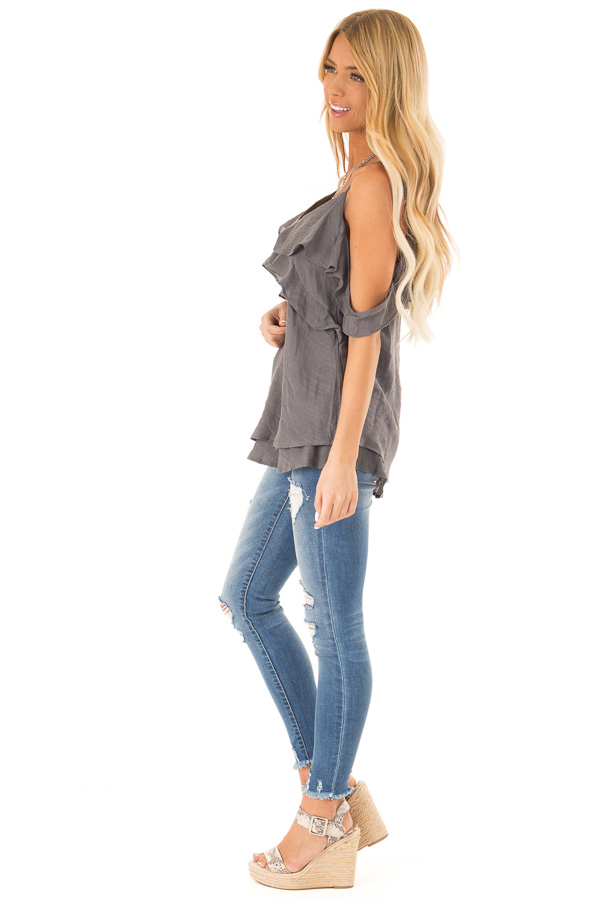 Charcoal Cold Shoulder Top with Double Ruffle Detail side full body