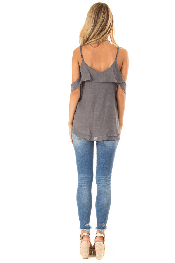 Charcoal Cold Shoulder Top with Double Ruffle Detail back full body