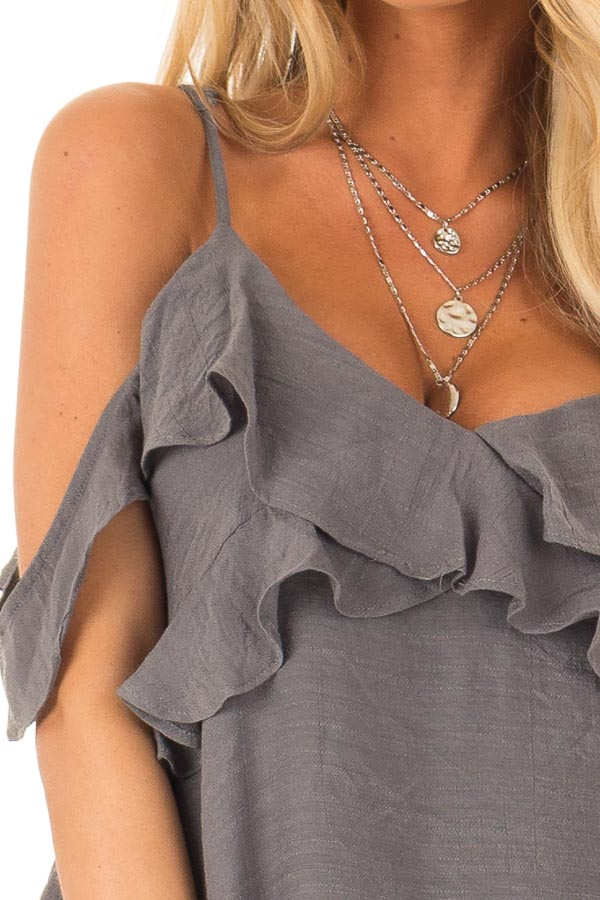 Charcoal Cold Shoulder Top with Double Ruffle Detail detail