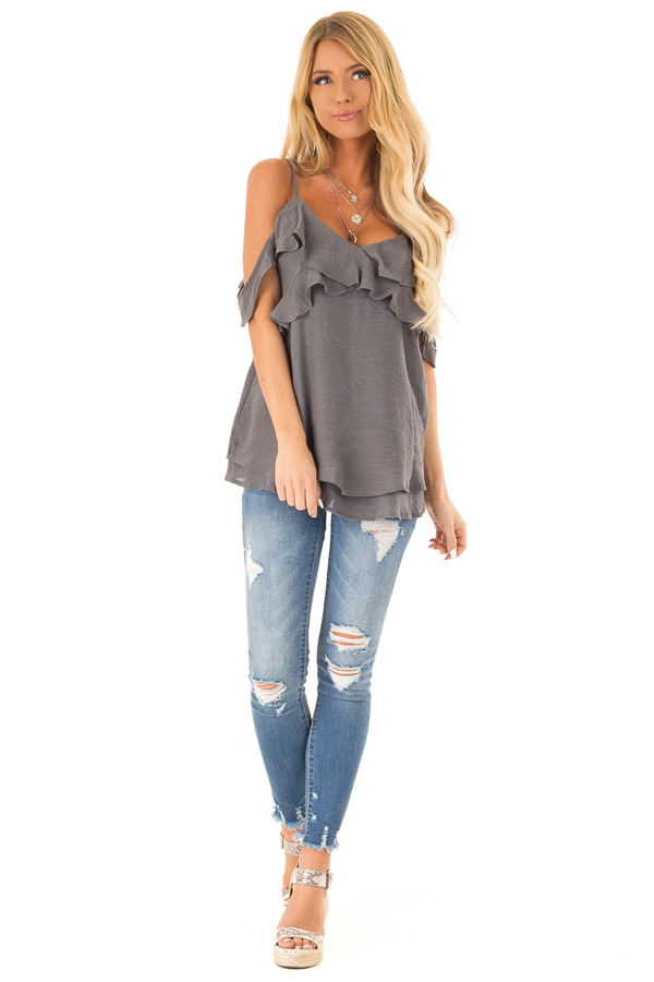 Charcoal Cold Shoulder Top with Double Ruffle Detail front full body