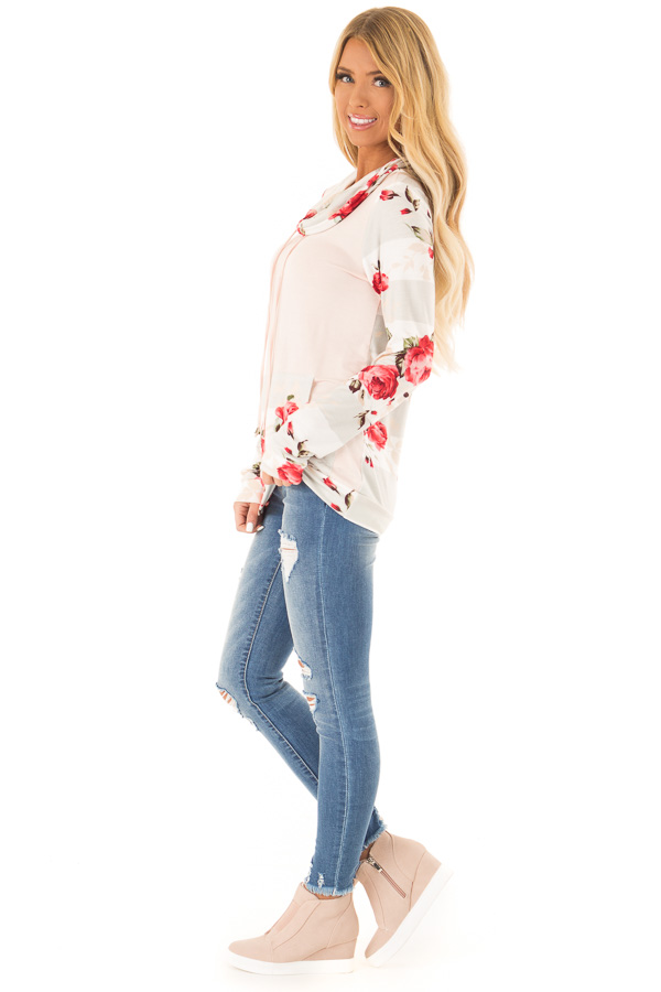 Baby Pink Cowl Neck Long Sleeve Top with Floral Contrast side full body