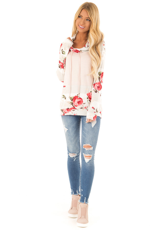 Baby Pink Cowl Neck Long Sleeve Top with Floral Contrast front full body