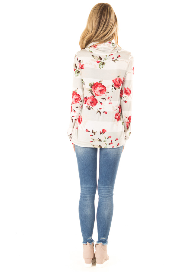 Baby Pink Cowl Neck Long Sleeve Top with Floral Contrast back full body