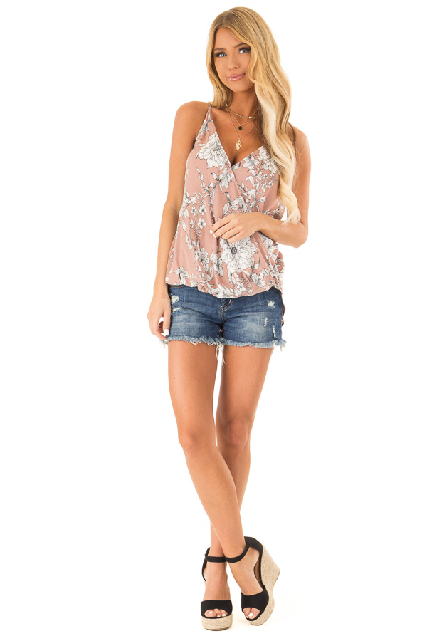 Dusty Blush Floral Print Surplice V Neck Tank Top front full body