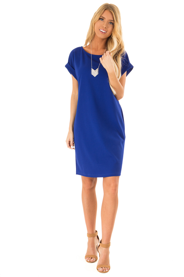 Cobalt Shift Dress with Short Cuffed Sleeves and Pockets front full body