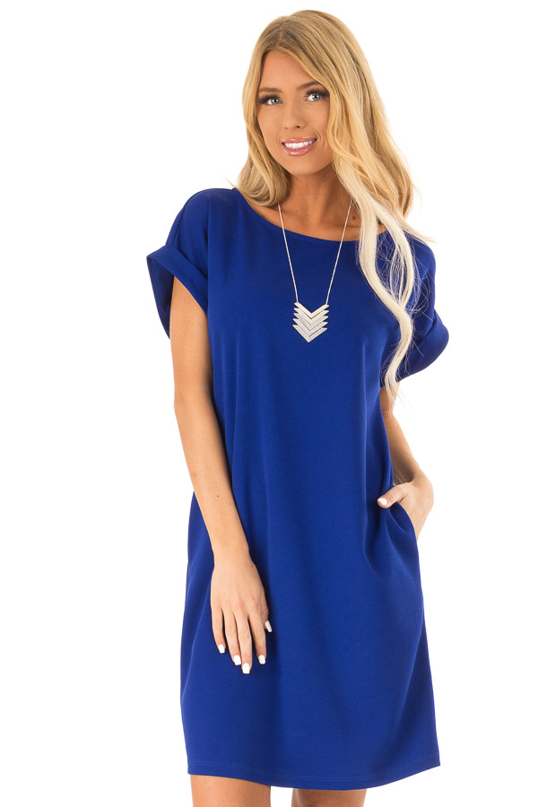 Cobalt Shift Dress with Short Cuffed Sleeves and Pockets front close up