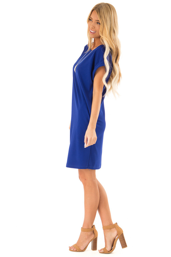Cobalt Shift Dress with Short Cuffed Sleeves and Pockets side full body