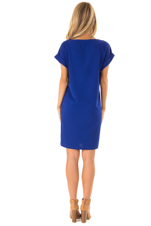 Cobalt Shift Dress with Short Cuffed Sleeves and Pockets back full body