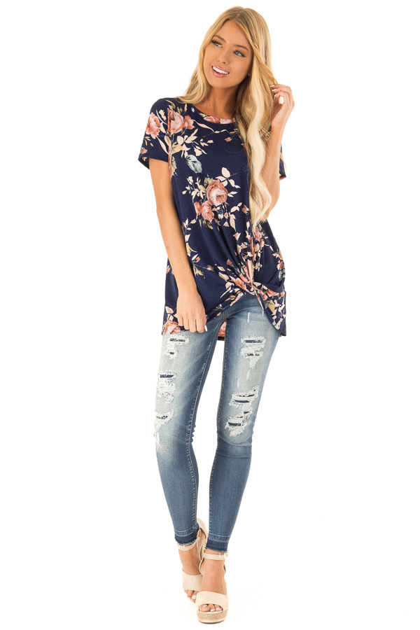 Navy Floral Short Sleeve with Twist Detail Top front full body