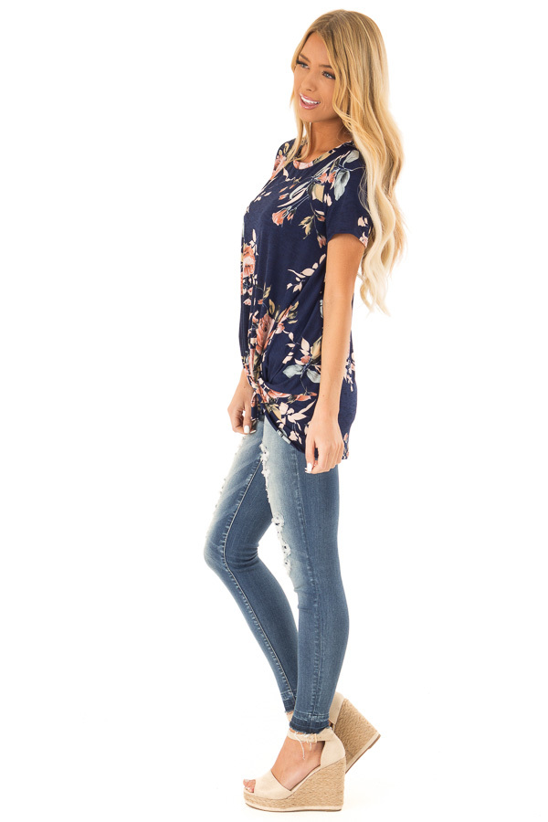 Navy Floral Short Sleeve with Twist Detail Top side full body
