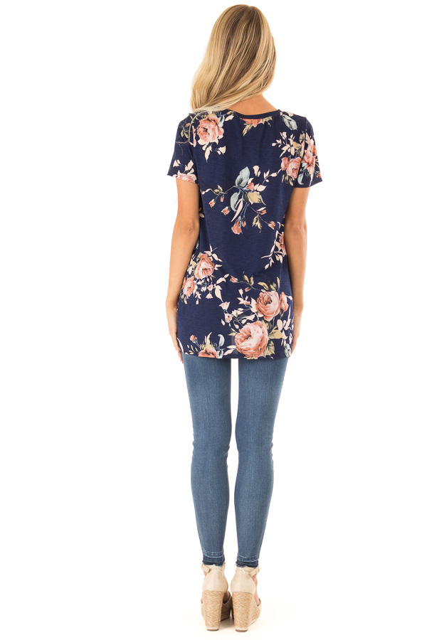 Navy Floral Short Sleeve with Twist Detail Top back full body