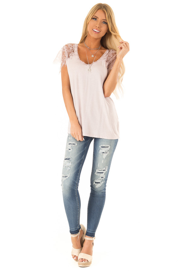 Pale Pink Scoop Neck Top with Sheer Lace Sleeves and Fringe front full body