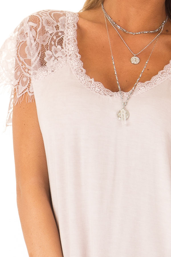 Pale Pink Scoop Neck Top with Sheer Lace Sleeves and Fringe detail