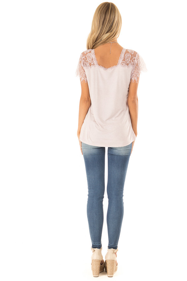 Pale Pink Scoop Neck Top with Sheer Lace Sleeves and Fringe back full body