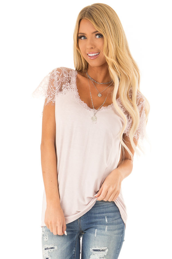 Pale Pink Scoop Neck Top with Sheer Lace Sleeves and Fringe front close up