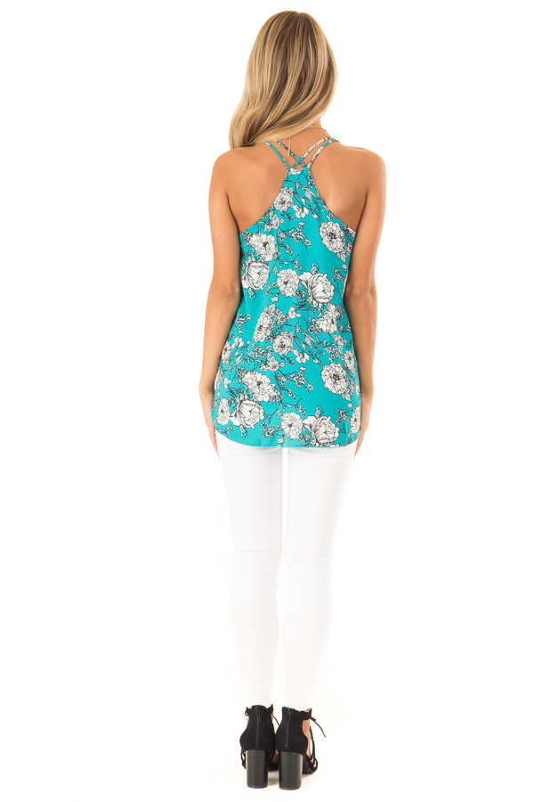 Teal Floral Print Criss Cross Strap Tank with Ruffle Detail back full body