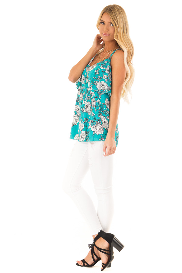 Teal Floral Print Criss Cross Strap Tank with Ruffle Detail side full body