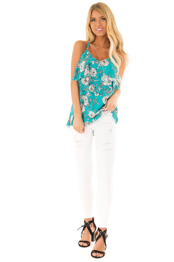 Teal Floral Print Criss Cross Strap Tank with Ruffle Detail front full body