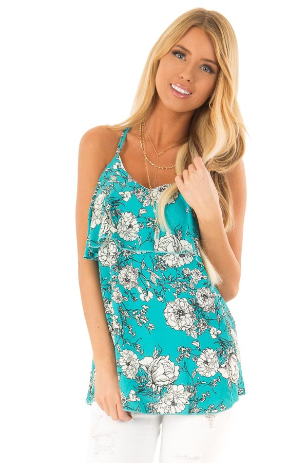 Teal Floral Print Criss Cross Strap Tank with Ruffle Detail front close up