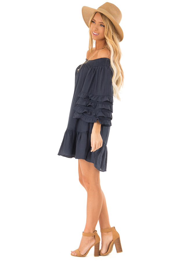 e96db9d243a2 Navy Off the Shoulder Mini Dress with Tiered Ruffle Sleeves side full body