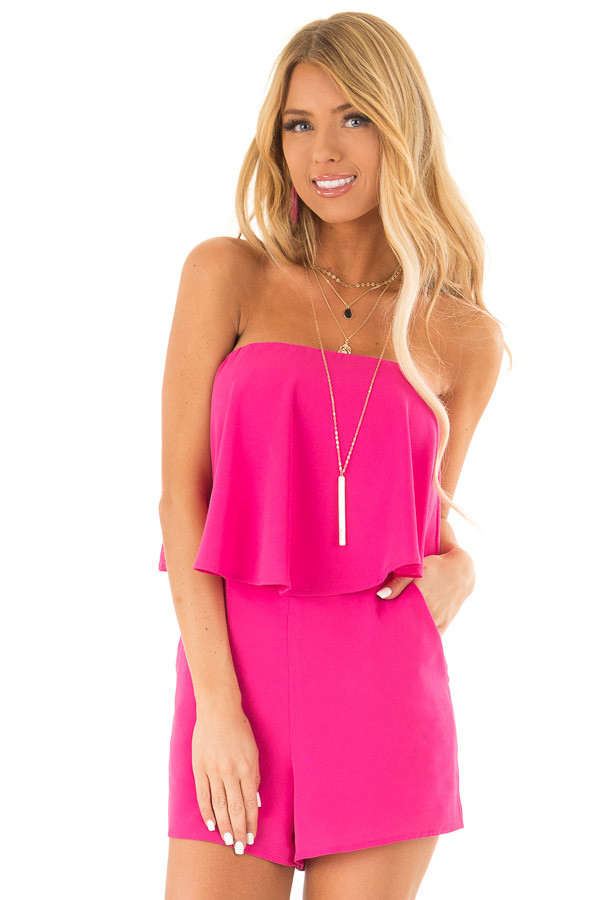 Fuchsia Sleeveless Romper with Ruffle Overlay and Pockets front close up