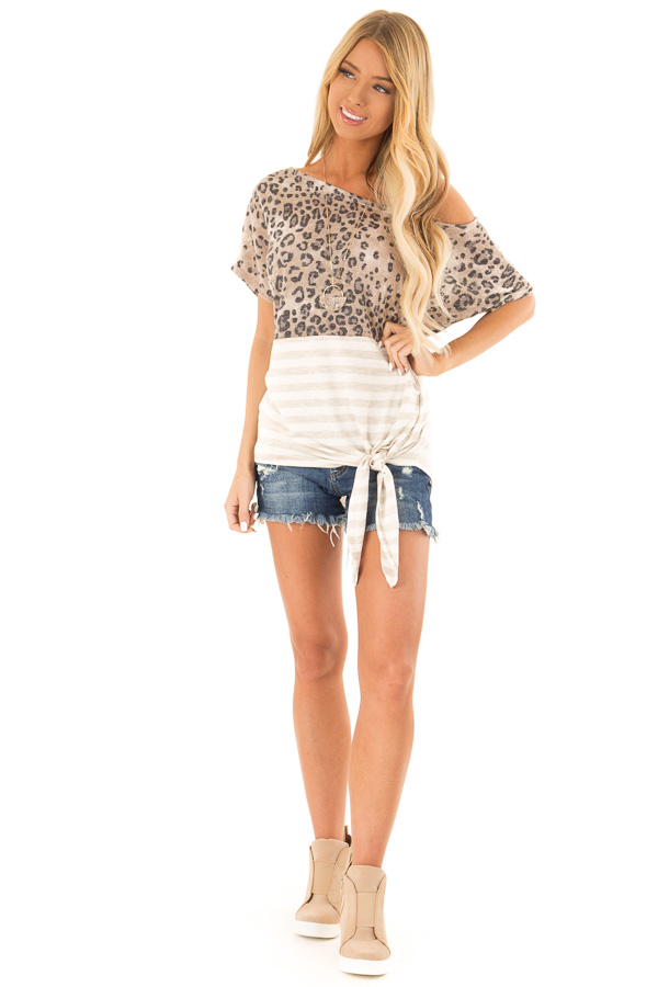 Beige Off The Shoulder Top with Cheetah Print and Side Tie front full body