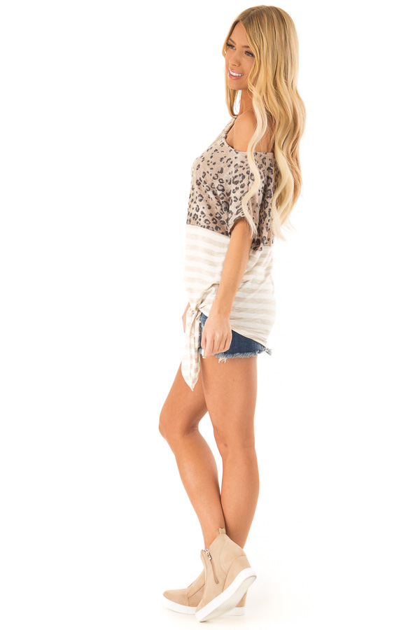 Beige Off The Shoulder Top with Cheetah Print and Side Tie side full body