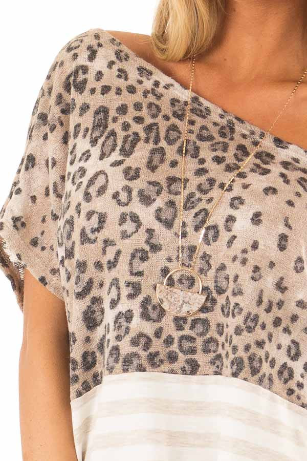 Beige Off The Shoulder Top with Cheetah Print and Side Tie detail