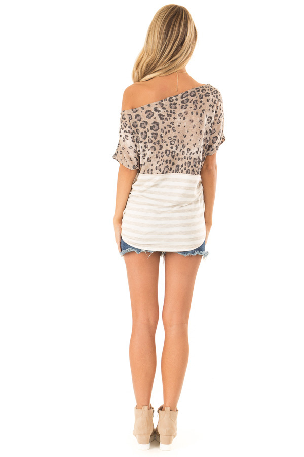 Beige Off The Shoulder Top with Cheetah Print and Side Tie back full body
