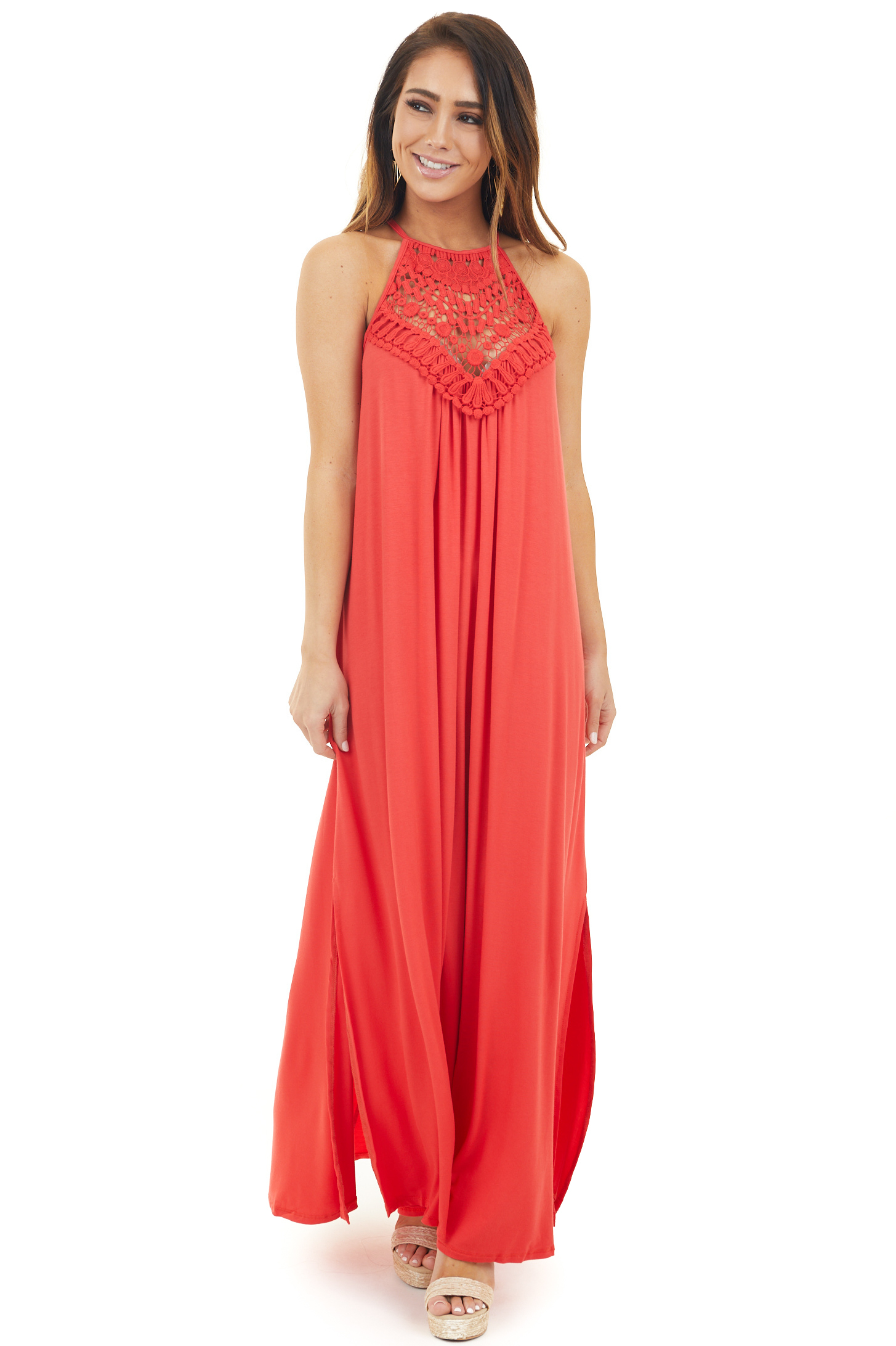 Tomato Red Spaghetti Strap Maxi Dress with Front Lace Detail