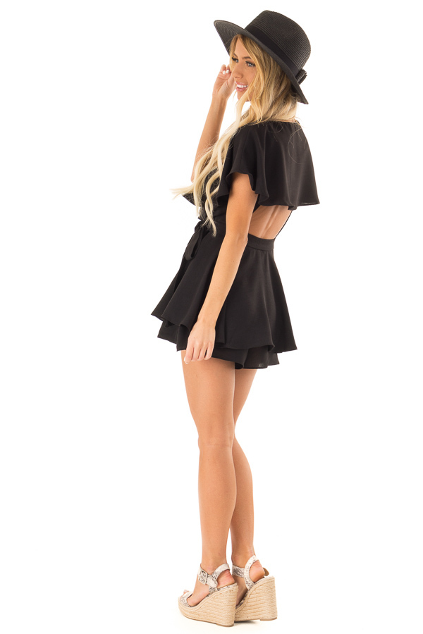 Black V Neck Surplice Romper with Ruffle Details and Tie side full body