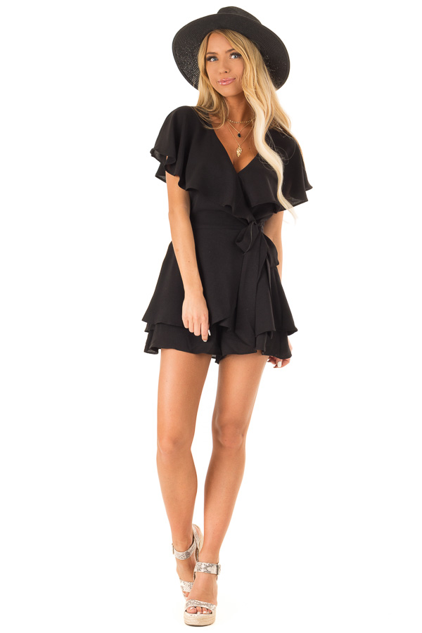 Black V Neck Surplice Romper with Ruffle Details and Tie front full body