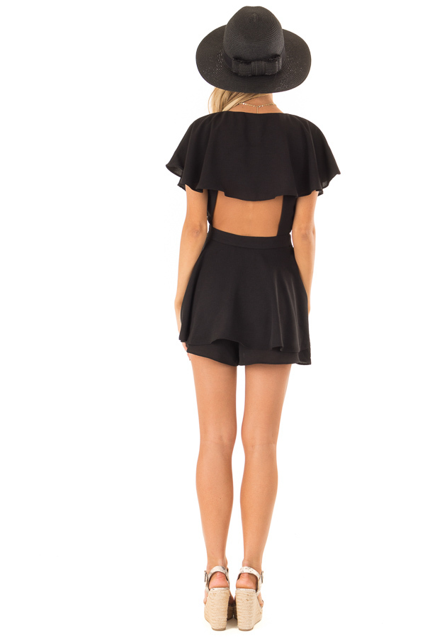 Black V Neck Surplice Romper with Ruffle Details and Tie back full body