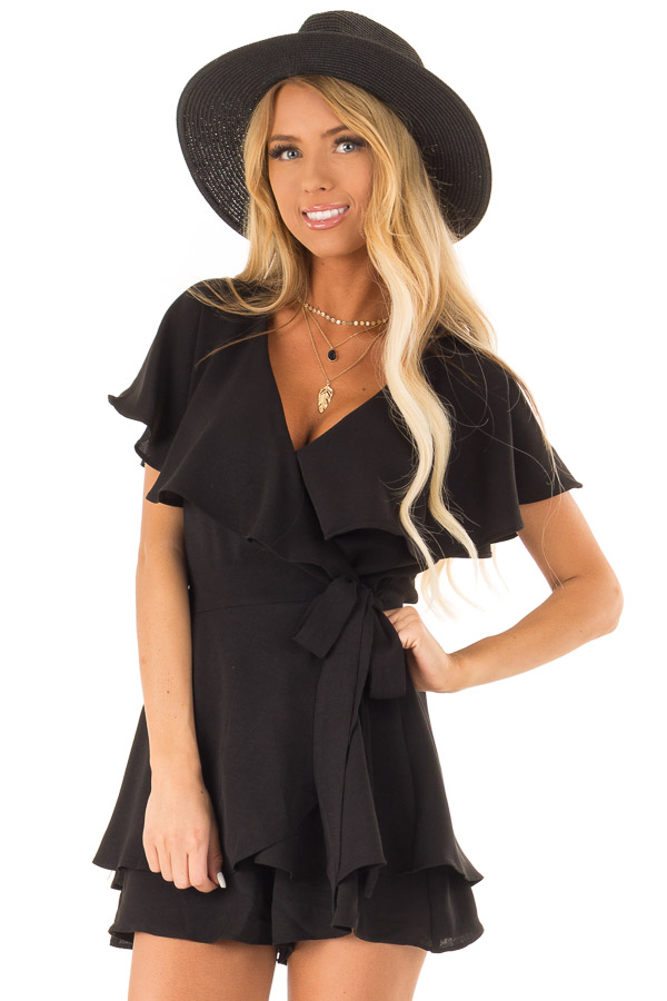 Black V Neck Surplice Romper with Ruffle Details and Tie front close up
