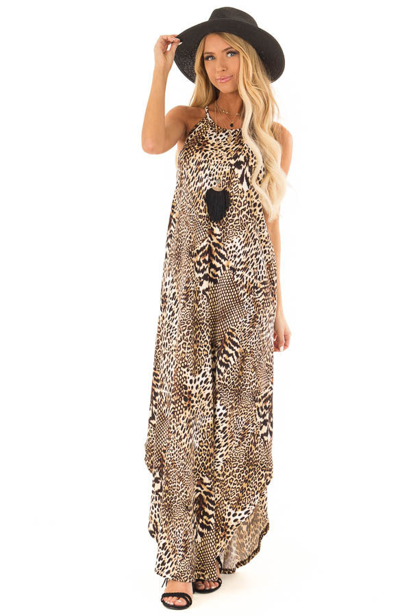 Caramel Leopard Print Halter Maxi Dress with Side Pockets front full body