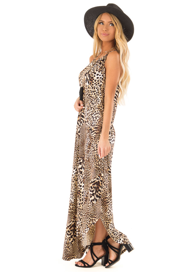 Caramel Leopard Print Halter Maxi Dress with Side Pockets side full body